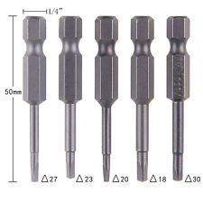 5Pcs/Set Magnetic Triangle Head Screwdriver Bits S2 Steel 1/4 Hex Shank 50mm  Af