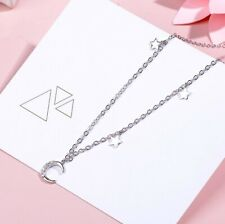 Star & Moon Pendant Pave Cubic Zirconia Silver SP Choker Necklace