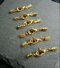 8 Sets Bright Gold Crimp Ends for 2mm to 2.5mm Cord with 12mm Lobster Clasps UK