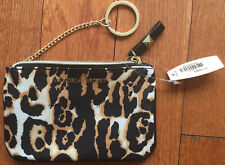 Nwt Victoria'S Secret Leopard Satin Make-up Bag/Coin Purse with Chain Key Ring