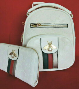 """White """"Queen Bee"""" Back Pack and Wallet Set  Vegan Leather by American Bee"""