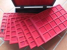 valigetta Abafil con 7 vassoi in legno in velluto rosso caselle tipo scudo