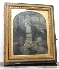 AMBROTYPE Young Victorian Man Dandy In Suit Bow tie 7.5 x 6.5 cm 1860's