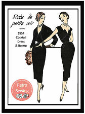 1950's Wiggle Dress & Bolero Vintage French Sewing Pattern - Rockabilly