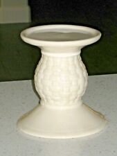 "Longaberger Pottery Woven Traditions Ivory Pillar Candle Pedestal Holder 5"" Tall"
