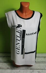 Longshirt M 38/40 Shirt Tunika Top ärmellos lang schwarz weiß Damenshirt Damen