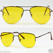 Aviator Pilot Tear Drop Shape Sunglasses Rimless Yellow Driving Bright Vision