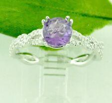 1.16 ct Natural  Amethyst & Diamond Ring white gold VS F 14k