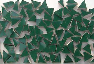 "Very Small Broken - Cut China Mosaic Tiles - 70 Green Triangle Tiles 1/4"""