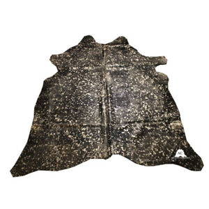 """Gold Acid Washed On Black Dyed Cowhide - (XL7'5""""x6'5"""" Ft) - Premium Cowhide Leat"""