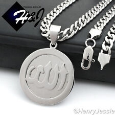 """20""""MEN Stainless Steel 6mm Silver Cuban Curb Necklace Allah Round Pendant*P78"""