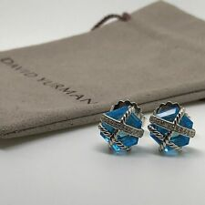 David Yurman Sterling Silver Cable Wrap Earrings w/ Blue Topaz and Diamonds