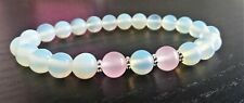 Moonstone Rose quartz bracelet 8mm Tibetan silver daisy love fertility gemstone