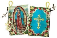 Our Lady of Guadalupe Cross on The Back Side Tapestry Rosary Icon Pouch Case