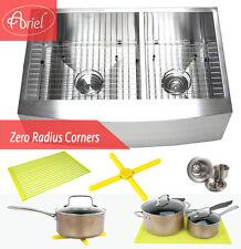 "Ariel 33"" Stainless Steel Double Bowl 16G Curve Apron Kitchen Farm Sink Combo"