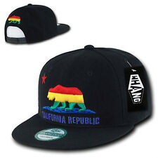 California Republic Black Rainbow Gay Pride Snapback Snap Flat Bill Cap Caps Hat