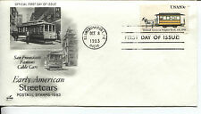 1983 American Streetcars Series Bobtail Art Craft Cachet Unaddressed Fdc