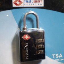 "NEW ""PASSAGE 2"" TSA TRAVEL LOCK - 3 DIAL COMBO - CLASSIC BLACK"