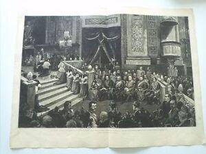 1885 Xilografía: Madrid Interior Iglesia San Francisco el Grande Exequias Reales