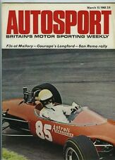 AUTOSPORT 15th MARZO 1968 * Rally San Remo *