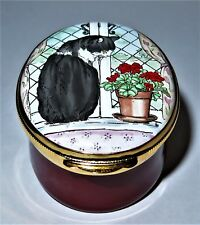 Crummles English Enamel Box - Tuxedo Cat On The Window Sill - Potted Geraniums