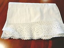 "Antique White with crochet work Pillow Covers 44"" around x 32"" long"