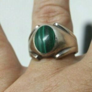 Men's 925 Sterling Silver Malachite Ring Marked TM-107  Size 11   #RB-1