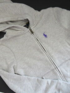 Ralph Lauren Boys Full Zip Hoodie Sweater School Cotton Sz S 7 White C8