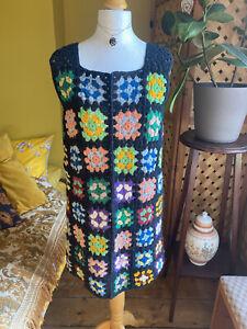 Vintage Crochet Rare Multicolour Mini Dress