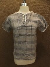 Vtg New Cool Blue Maroon Thin Plaid Summer Casual Shirt Sporty Casual Hipster S
