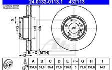 2x ATE Disques de Frein Avant Ventilé 334mm 24.0132-0113.1 pour BMW 7