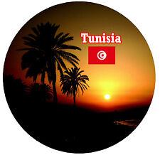 TUNISIA - FLAG / SIGHTS - ROUND SOUVENIR FRIDGE MAGNET - GIFTS - BRAND NEW