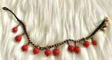 Colors: Bright Red Circles, Gold T8 Handmade Color beads Anklets Fashion Jewelry
