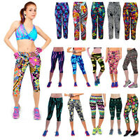 Womens Fitness YOGA Capri 3/4 Pants Stretch Running Gym Sports Cropped Leggings