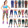 Sport Women Printed High Waist Legging Fitness Stretch Yoga Sport Cropped Pant W