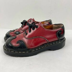 Vintage Tredair Mary Jane Doc Women's Red Black Flame Made In England Size 7