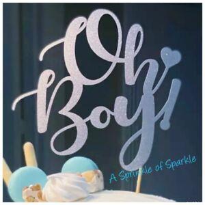 GENDER REVEAL 'OH BOY' GLITTER CAKE TOPPER BABY SHOWER CAKE SMASH CHRISTENING