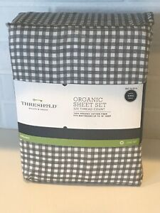 King Size Organic Sheet Set NEW! Charcoal Grey & White Classic Check in Bag