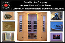 4-Person infrarouge lointain Sauna W/7 CARBONE chauffages, Bluetooth Audio, leds
