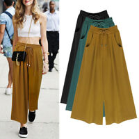 Women Summer Elastic Wide Leg Loose Casual Skirt Culottes Cropped Pants Plus!