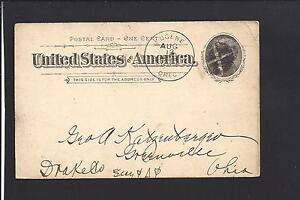 EUGENE, OREGON, 1896, GOVERNMENT POSTAL CARD,ADVT. U. OF OREGON.