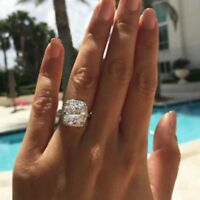 Certified 3.60Ct White Cushion Cut Diamond Engagement Ring Solid 14K White Gold