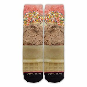 Function - Realistic Ice Cream Cone Sock Funny chocolate strawberry sprinkles