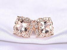 4Ct Cushion Morganite Push Back Halo Stud Earrings Solid 14K Rose Gold Finish