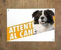 BORDER COLLIE 3 Attenti al cane Targa cartello metallo Beware of dog sign metal