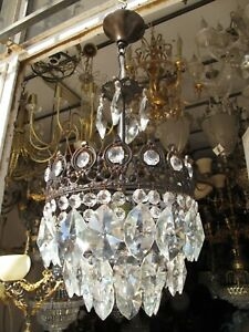 Antique French Bohemia Crystal Chandelier Light Lamp Lustre 1940s 9in Ø Diameter