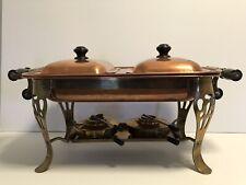 Vintage Eldan Copper & Brass Shafing Double Dish Server
