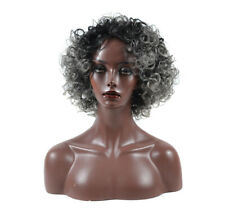 Ombre Grey Short Afro Curly Wigs for Women Kinky Curly African American Full Wig