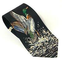 Vtg Ducks Unlimited Mens 100 % Silk Neck Tie Mallard Ducks In Flight USA 4 in W