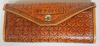 HANDCRAFTED TOOLED LEATHER SMALL CLUTCH PURSE WALLET HAND MADE SNAP CLOSURE
